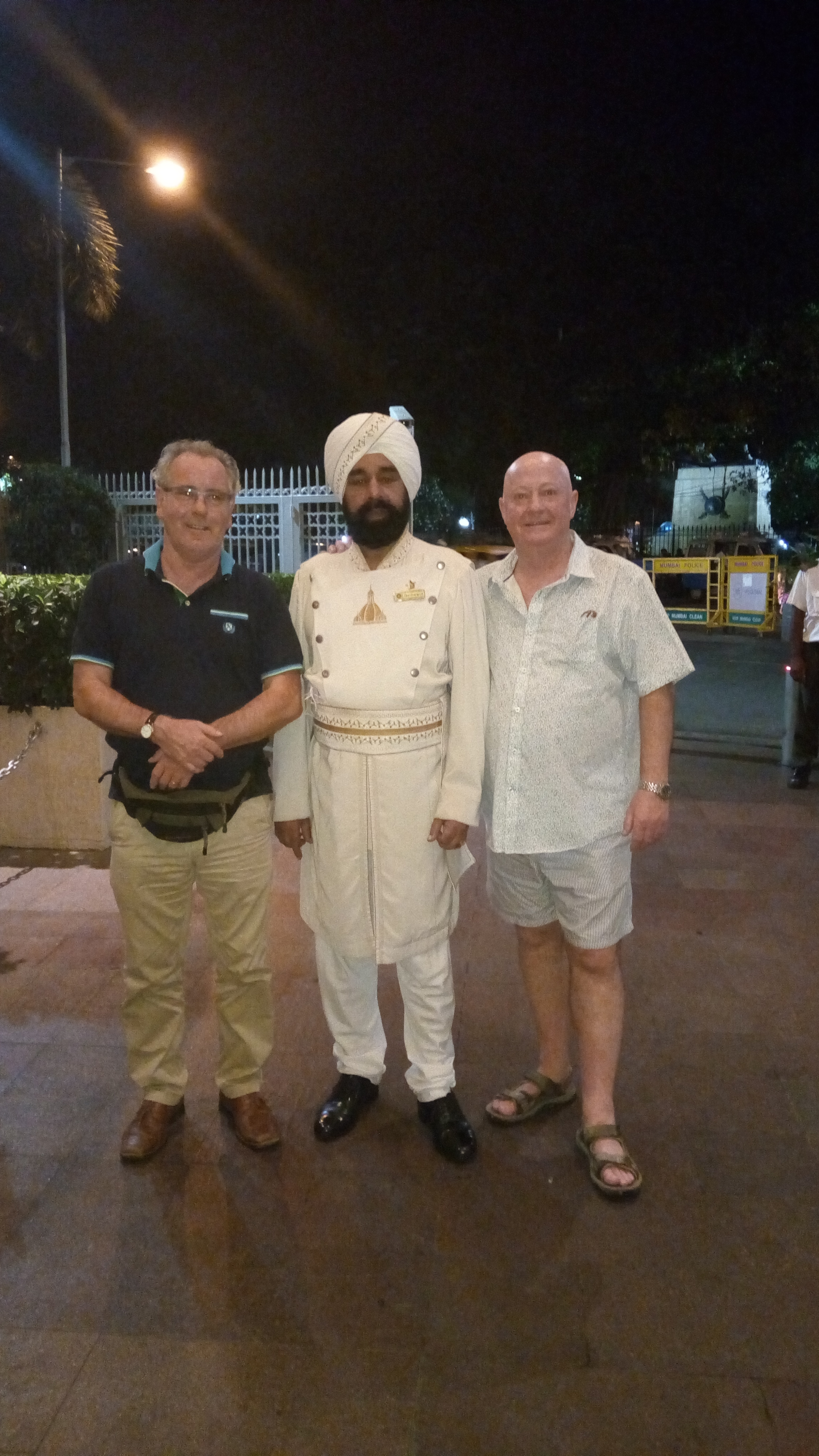 Outside The Taj Mahal Hotel in Mumbai – our search for soluble paper begins in India.