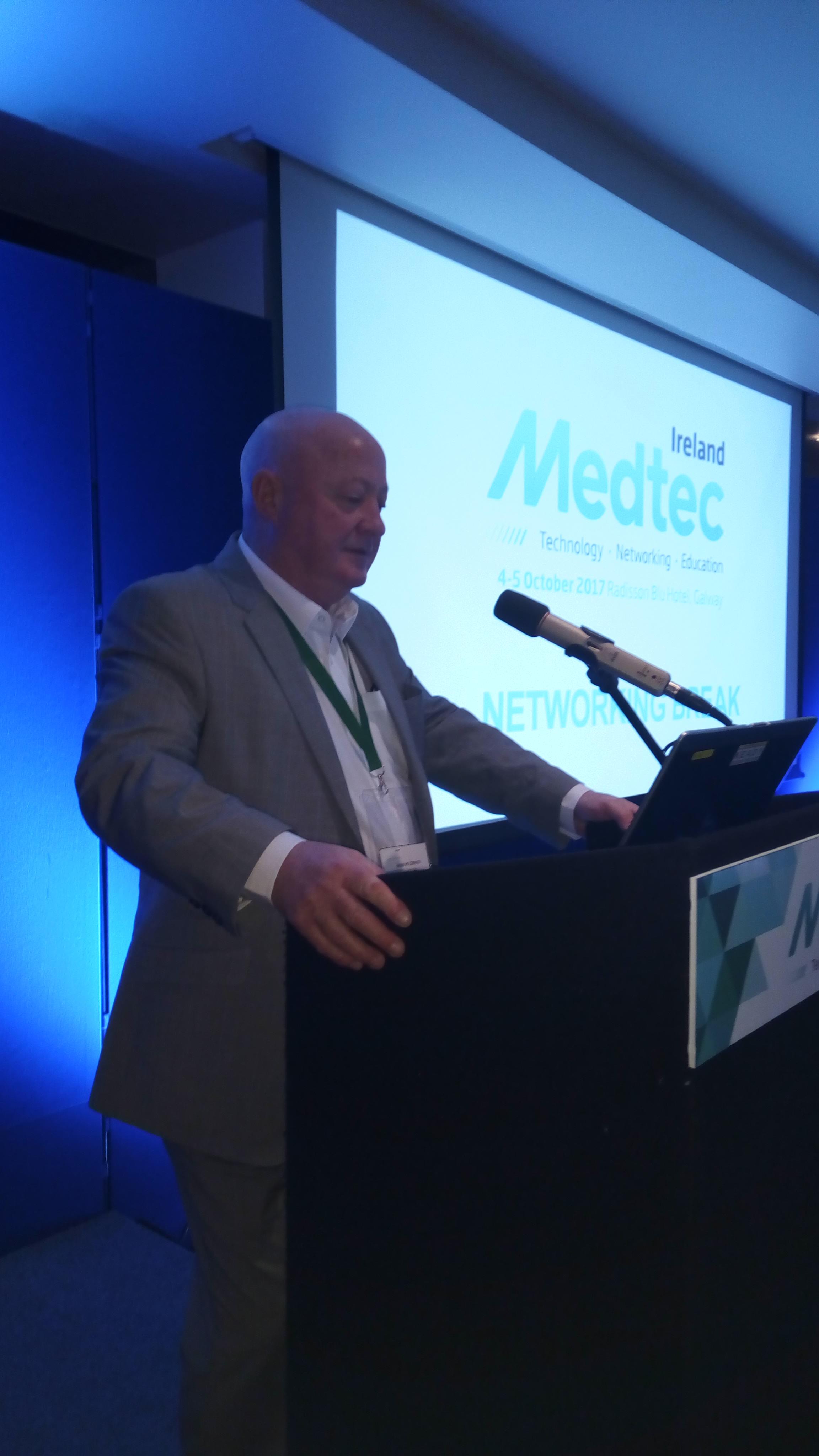 Brian prepares for a presentation at Medtec in Ireland.