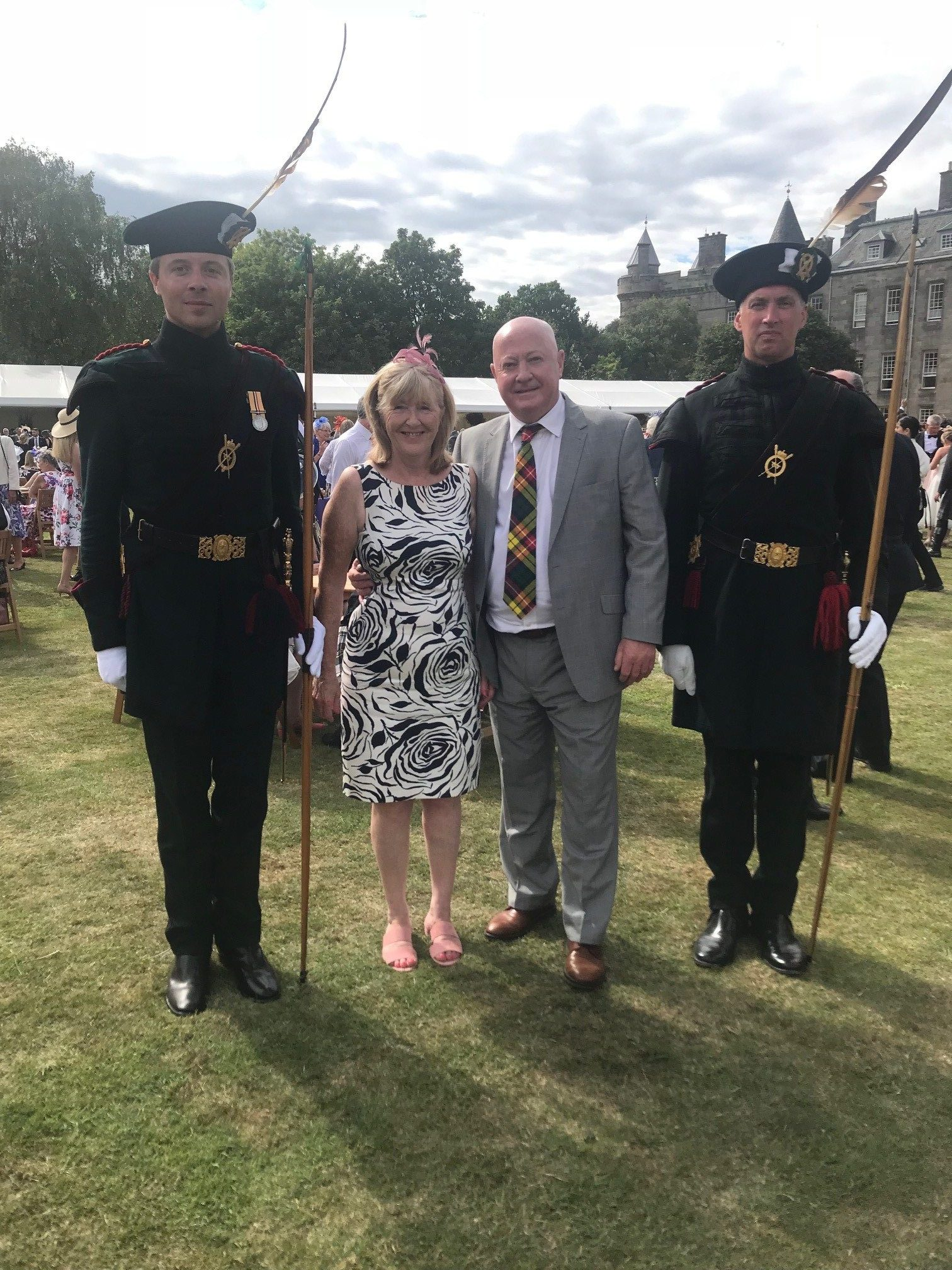 In recognition of his work, Brian and his wife, Iris attended the Queen's Garden Party at Holyrood