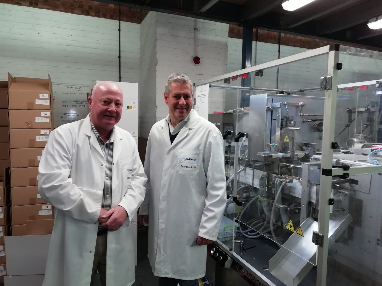 Brian meets with Guardpack's CEO Jeremy Freedman for pre-production discussions about soluble wet wipes.